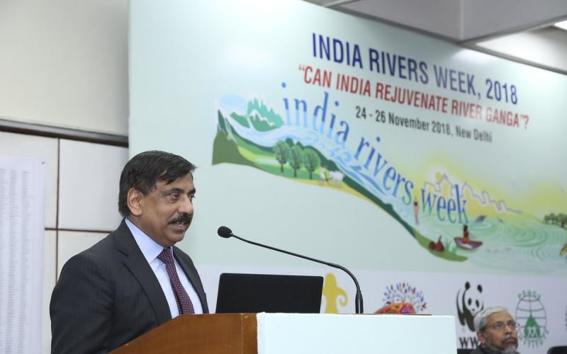 Chief Guest - UP Singh, Secretary, Ministry of Water Resources, RD & GR addressing the valedictory session of India Rivers Week-2018.